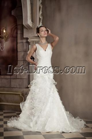 V-neckline Sheath Mature Vintage Wedding Dresses GG1093