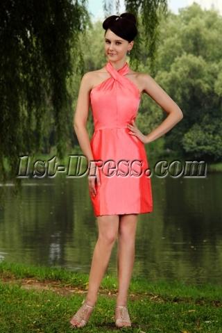 Water Melon Unique Halter Modest Bridesmaid Dress Mini Length IMG_0900