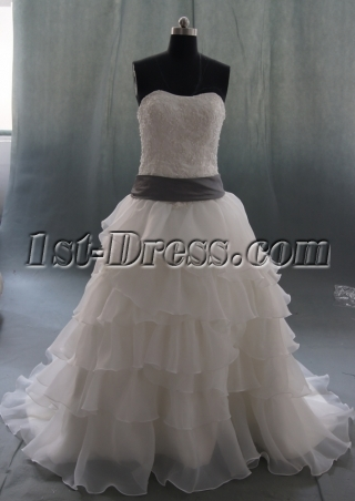 White Court Train Organza Plus Size Wedding Dress 06880