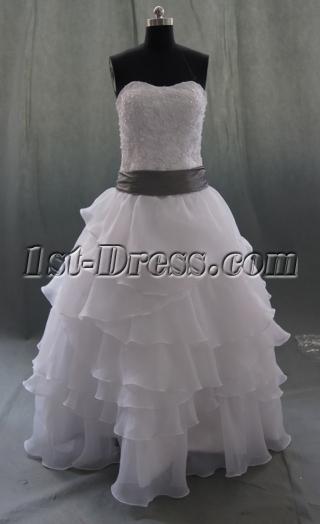 White Satin Organza Plus Size Wedding Dress 06877