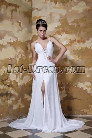 White Spaghetti Straps Sexy Outdoor Bridal Gown GG1043