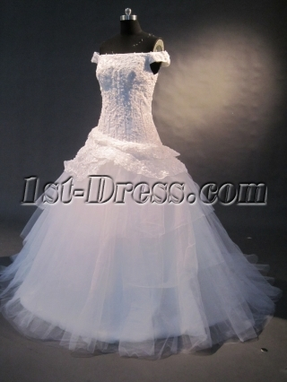 Whote Off-the-shoulder Satin Tulle Wedding Dress 1481