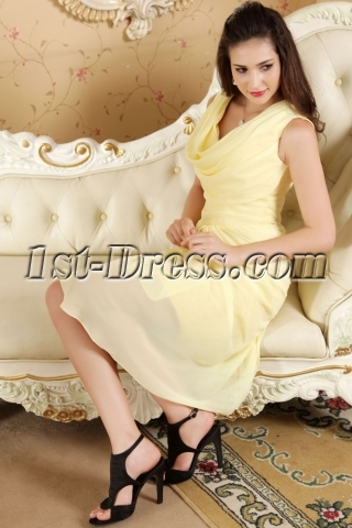 Yellow Chiffon Cowl Neckline Homecoming Dresses IMG_5301