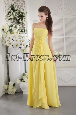 Yellow Strapless Chiffon Long Bridesmaid Dress for Plus Size IMG_9697