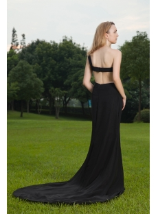 2012 Black Open Back Sexy Evening Dress with One Shoulder IMG_8506