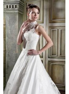 Antique Lace Long A-line Halter Bridal Gown GG1084