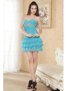 Aqua Blue Mini Cute Quinceanera Gown Sweetheart IMG_5371