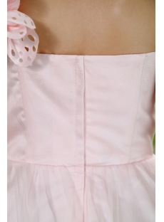 Baby Pink Floral One Shoulder Sweet 15 Dress Short IMG_0918
