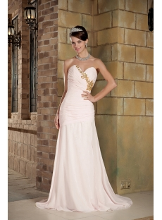 Baby Pink with Gold Beads Long Modest 2012 Evening Dress GG1014