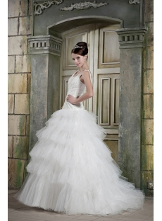 Beaded Scoop Neck Beautiful Wedding Dresses with Drop Waist GG1074