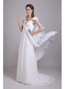Beautiful Chiffon Maternity Wedding Dress with V-neckline IMG_0723