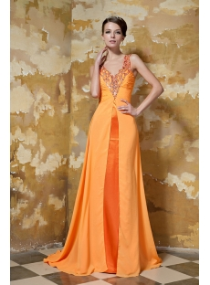 Beautiful Long Orange Graduation Dress with Train GG1041