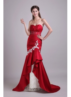 Beautiful Burgundy Mermaid Wedding Dress with Train 0825