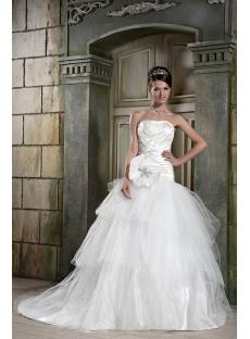 Beautiful Strapless Long Princess Ball Gown Wedding Dress with Train GG1085