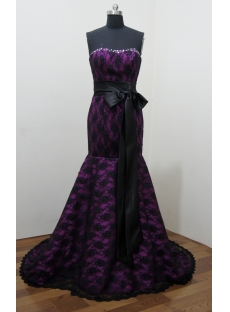 Black A Line Sweetheart Satin Lace Prom Dress 2822