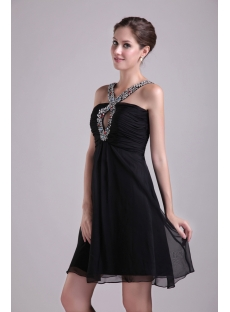 Black Halter Chiffon Maternity Cocktail Dress 0995