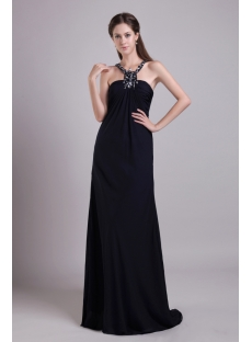 Black Halter T Back Maternity Prom Dress IMG_0680