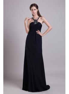 Black Halter T Back Maternity Prom Dress IMG_0680