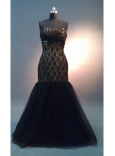 Black Lace A-Line Long Satin Tulle Prom Dress  IMAG1002