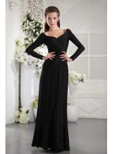 Black Long Sleeves Modest Evening Dress IMG_9904