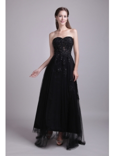 Black Romantic Ankle Length 15 Quinceanera Dresses IMG_0631