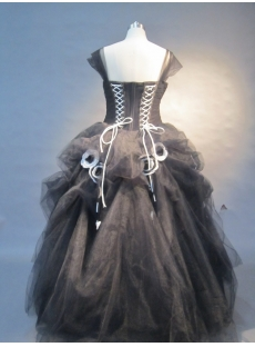 Black Strapless Satin Tulle  Ball Gown 0452