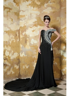 Black Unique Evening Dress with Short Sleeve GG1048