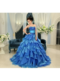 Blue Floor-Length Satin Organza 2013 Quinceanera Dress H-111