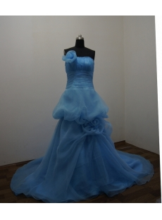 Blue Floor Length Satin Organza Ball Gown Dress 2888
