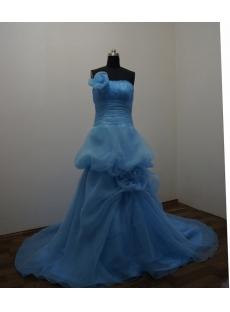 Blue Floor Length Satin Organza Ball Gown Dress 2888