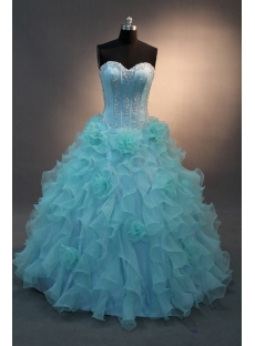 Blue Floor-Length Satin Organza Quinceanera Dress IMG_0173