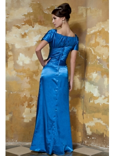 Blue Long Modest Prom Dress with Short Sleeves GG1050