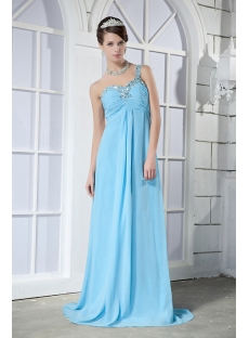 Blue Long One Shoulder Maternity Party Prom Dress GG1021