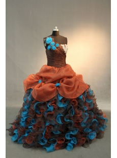 Brown Princess Strapless Sweetheart Satin Organza Quinceanera Dress IMG_0522