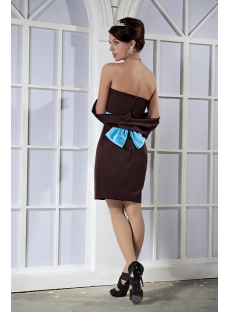 Brown and Blue Short Mother of Groom Gown with Shawl GG1068