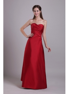 Burgundy Long Sweetheart Junior Bridesmaid Gown 0754