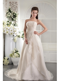 Champagne A-line Strapless 2012 Bridal Gown 0034