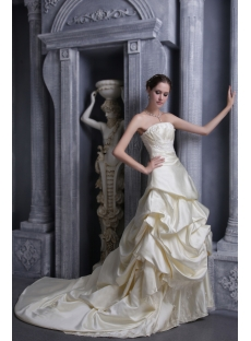 Champagne Brilliant Elegant Bridal Gowns 1052