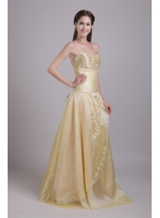 Champagne Long Sweetheart Bridesmaid Gown Cheap with Embroidery 0763