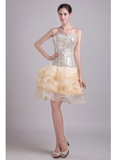 Champagne Sequins Junior Short Prom Gown 0985