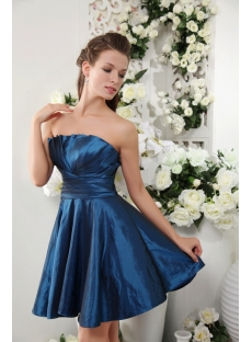 Cheap Blue Romantic Short Strapless Junior Prom Dress IMG_0164