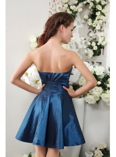 Cheap Blue Romantic Short Strapless Junior Prom Dress IMG_0164
