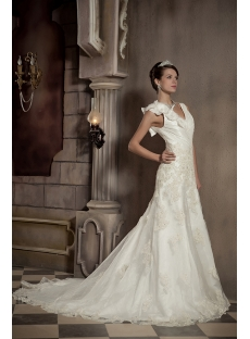 Cheap Floral Long Beautiful Bridal Gown with V-neckline GG102