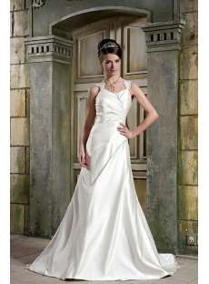 Cheap Long Satin Simple Garden Wedding Dress 2012 with Keyhole GG1081