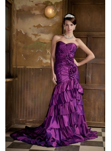 Cheap Mermaid Long Grape Evening Gown GG1020