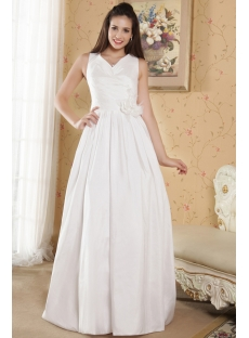 Cheap V-neckline Casual Wedding Dresses for Outdoor Weddings IMG_5319