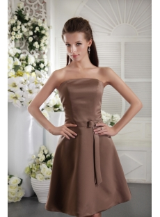 Chocolate Short Simple Junior Bridesmaid Dress IMG_0042