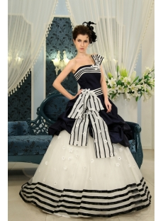 Dark Navy  Floor-Length Taffeta Quinceanera Dress F-126