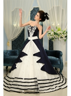 Dark Navy  Floor-Length Taffeta Quinceanera Dress F-127