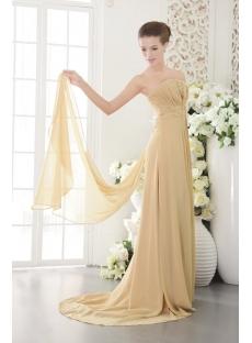Detachable Train Champagne Evening Dress with Split Sale IMG_9636